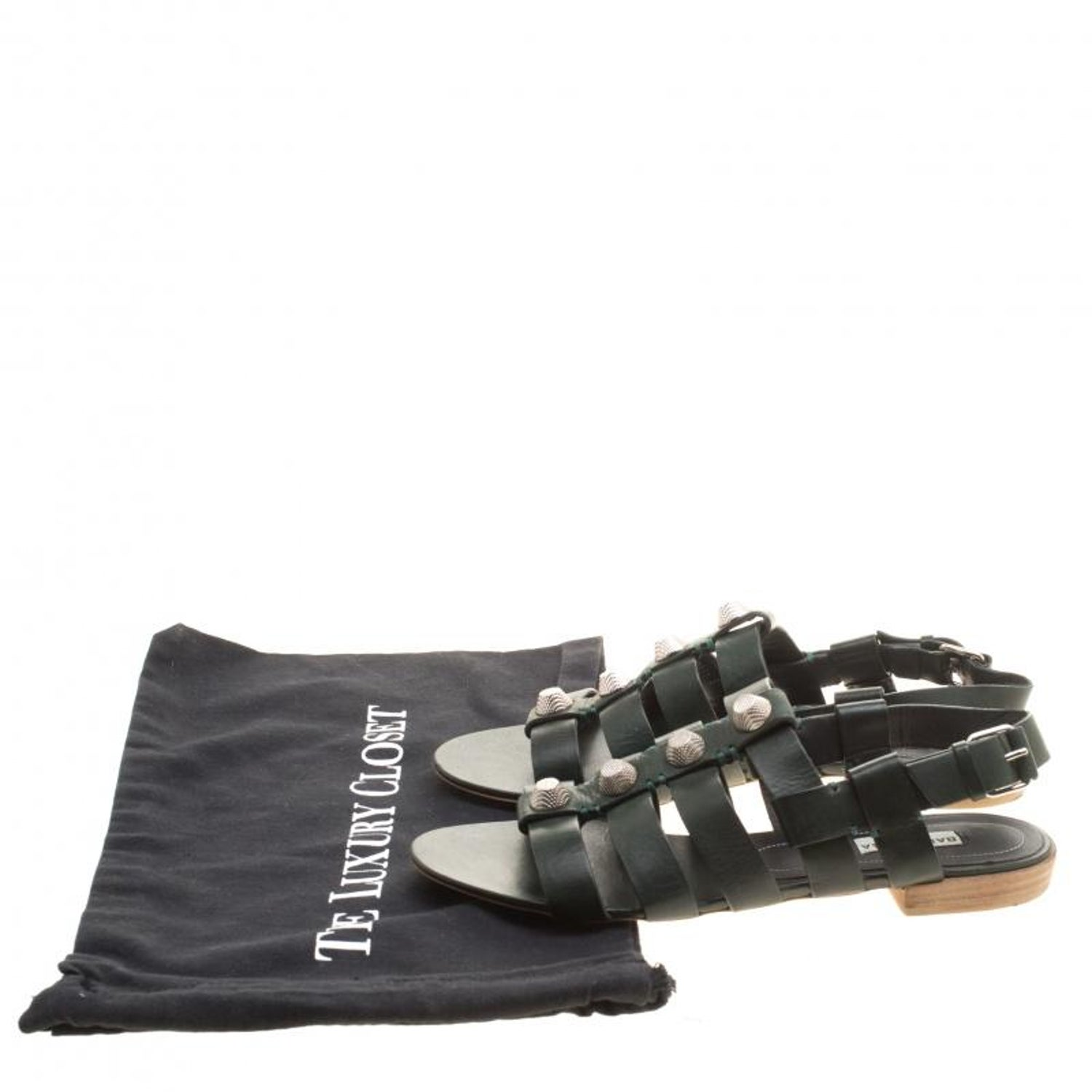 9a38b4341 Balenciaga Green Leather Giant Gladiator Sandals Size 39 For Sale at 1stdibs
