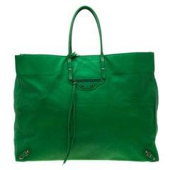Balenciaga Green Leather Papier A3 Tote