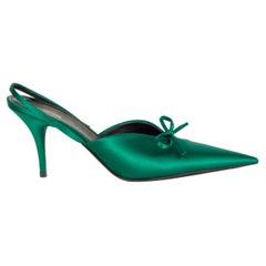 BALENCIAGA green Pointed Toe SATIN KNIFE Slingbacks Pumps Shoes 41