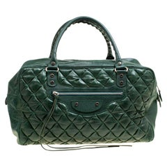 Balenciaga Green Quilted Leather Bowling Satchel
