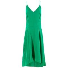 Balenciaga Green Silk-Crepe Dress - Size US 0