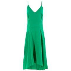Balenciaga Green Silk-Crepe Dress - Size US 0