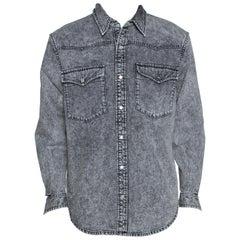 Balenciaga Grey Acid Washed Denim Distressed Cuff Detail Shirt L