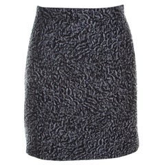 Balenciaga Grey Floral Embossed Jacquard Mini Skirt M
