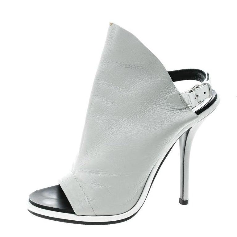 c5597f28fde Balenciaga Grey Leather Glove Peep Toe Sandals Size 37