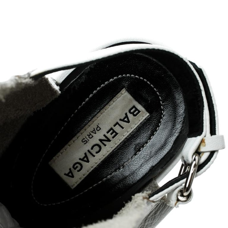 61e60c883ee7 Balenciaga Grey Leather Glove Peep Toe Sandals Size 37 For Sale at ...