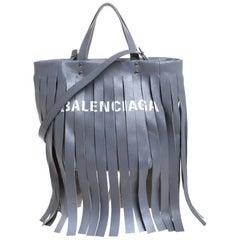 Balenciaga Grey Leather Laundry Cabas Fringe XS Tote