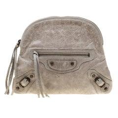 Balenciaga Grey Leather Pouch