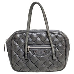 Balenciaga Grey Matelasse Leather Mini Motocross Classic Bag