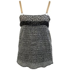 Balenciaga Grey Textured Mesh Cami Top with Floral Panel Size 38