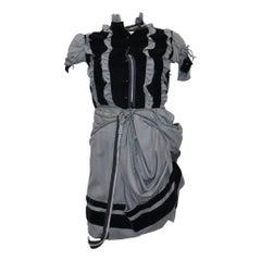 Balenciaga Grey Wool & Black Velvet Deconstructed Dress w/ Zippers Circa 1990s