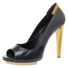 Balenciaga Grey/Yellow Canvas and Leather Peep Toe Pumps Size 38.5