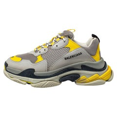 Balenciaga Grey/Yellow Nubuck, Leather And Mesh Triple S Sneakers Size 42