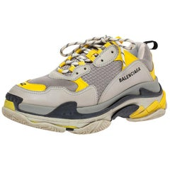 Balenciaga Grey/Yellow Nubuck Leather And Mesh Triple S Trainer Sneakers Size 42