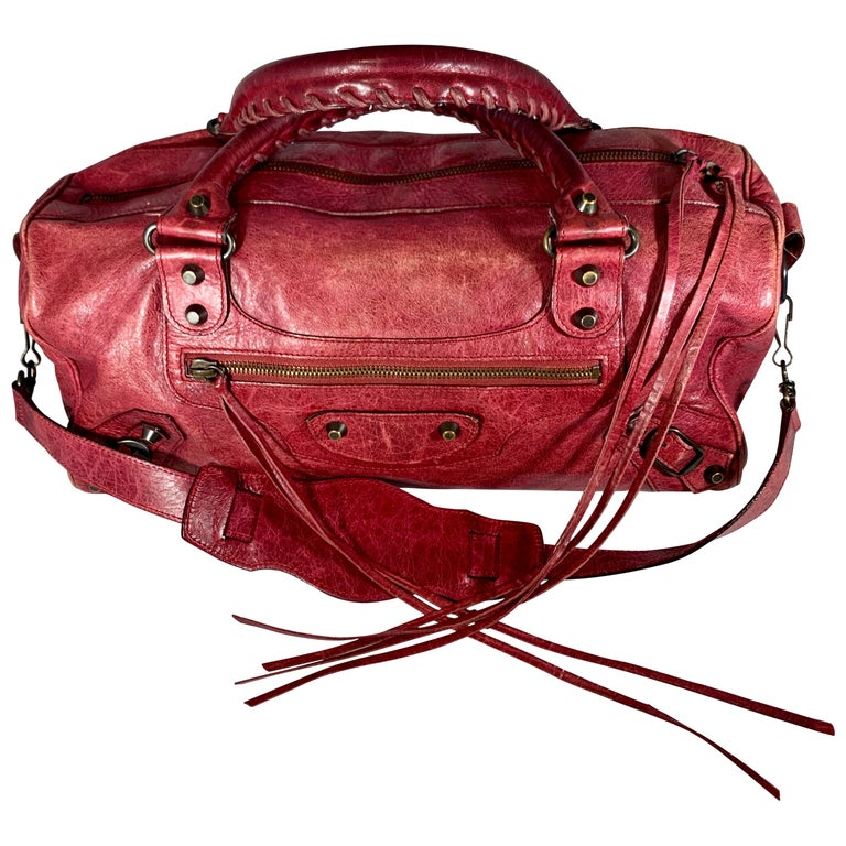 Balenciaga Hand Bag The Twiggy Reds Leather, Made in Italy, Shoulder Bag For Sale