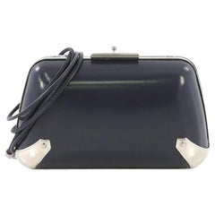 Balenciaga Hard Case Clutch Leather With Metal Detail Small