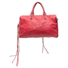 Balenciaga Hot Pink Classic Polly Leather Satchel
