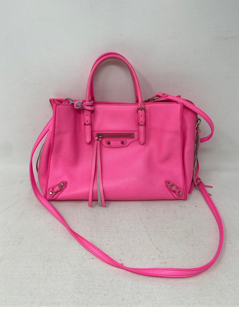 Balenciaga Hot Pink Mini Bag. Light marks throughout. Hot pink neon color. Fair to good condition overall. Guaranteed authentic.