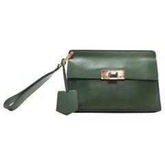 BALENCIAGA Le Dix Pochette geren leather mixed metal wristlet pocket clutch bag
