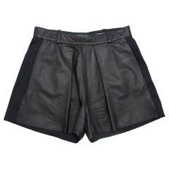 Balenciaga Leather & Linen Pleated ShortsSIZE 38