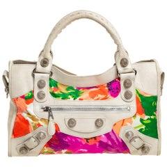 Balenciaga Light Beige Floral Print Satin and Leather GSH City Bag