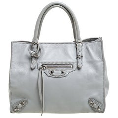 Balenciaga Light Grey Leather Mini Papier A4 Tote