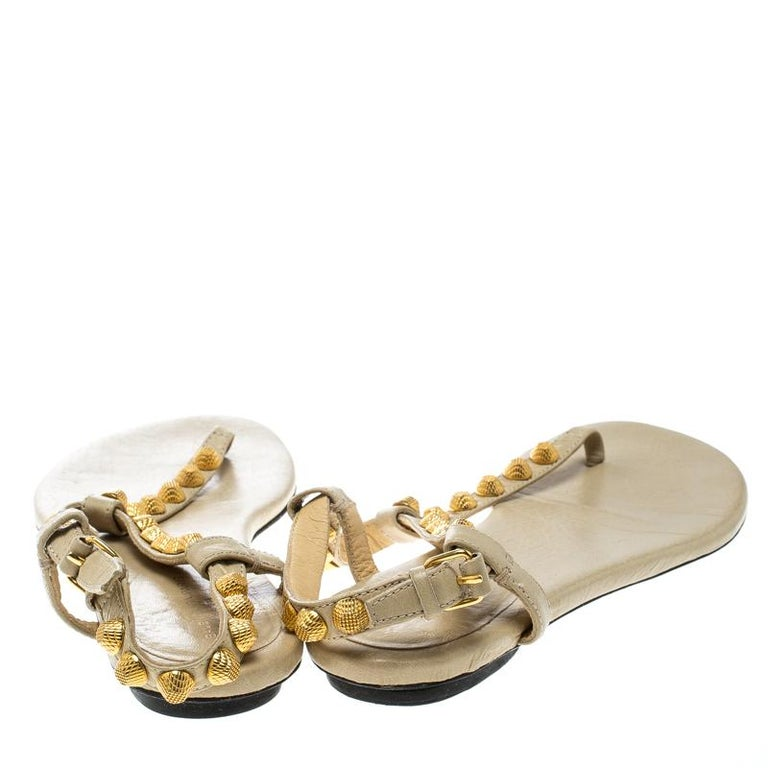 745873ade66 Beige Balenciaga Light Yellow Studded Leather Arena Thong Sandals Size 38  For Sale