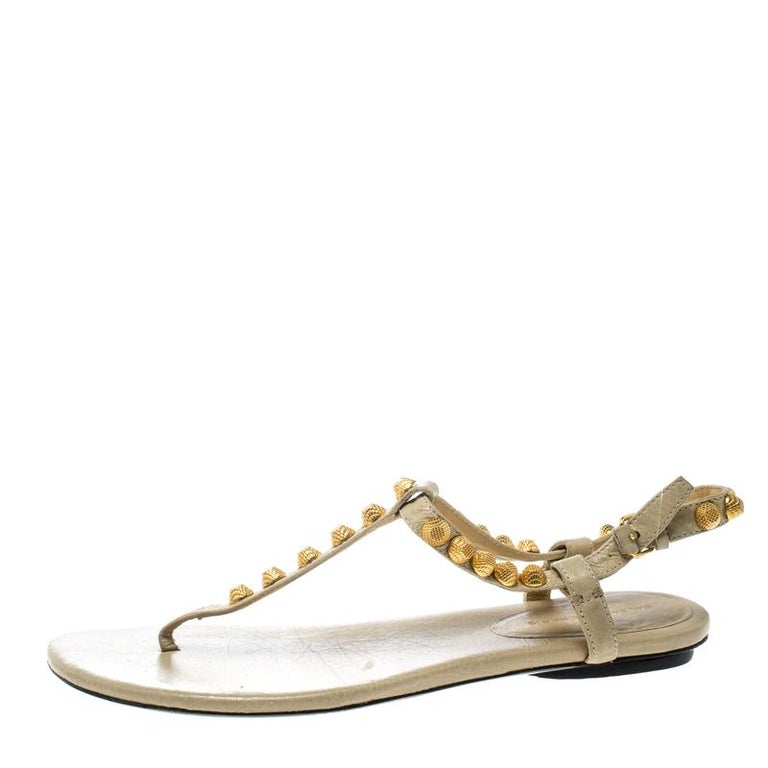 b230457e3ab Women s Balenciaga Light Yellow Studded Leather Arena Thong Sandals Size 38  For Sale