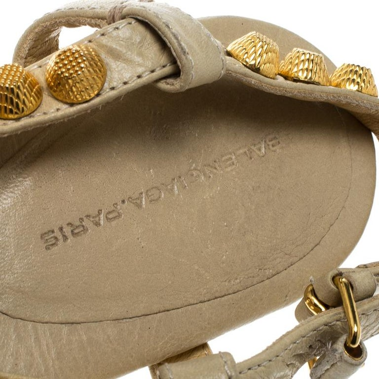 0d9dd96e967 Balenciaga Light Yellow Studded Leather Arena Thong Sandals Size 38 For Sale  1