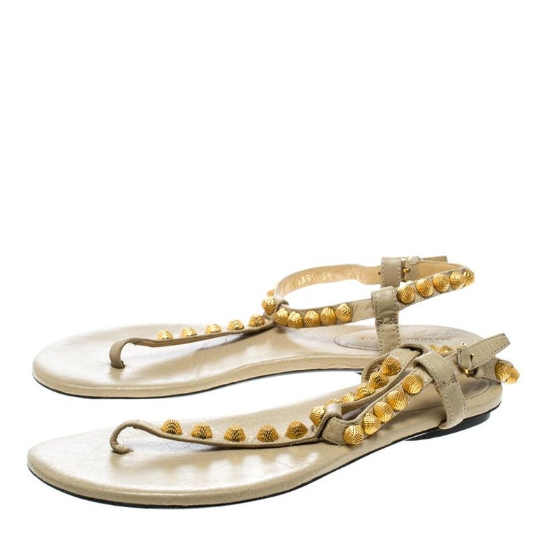 699a14a7563 Balenciaga Light Yellow Studded Leather Arena Thong Sandals Size 38 For Sale  2