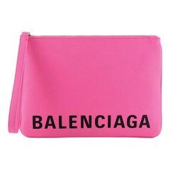Balenciaga Logo Ville Wristlet Pouch Leather Medium