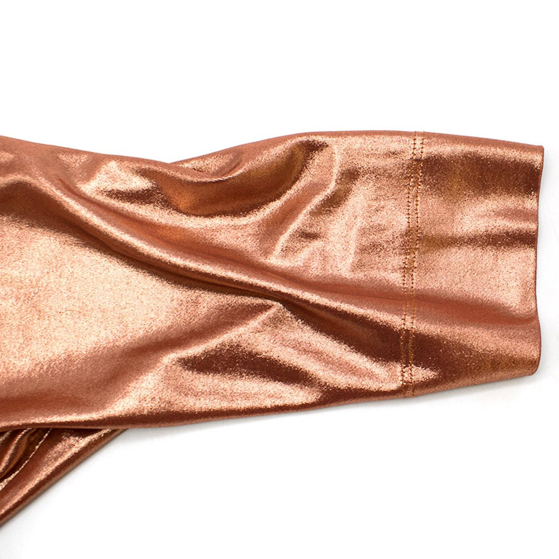 70/'s Sheer Asymmetrical  Copper Toned Metallic Lame Top Size S