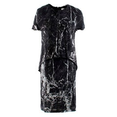 Balenciaga Marble Print Trompe L'oeil Short Sleeve Dress FR 36 / US 4