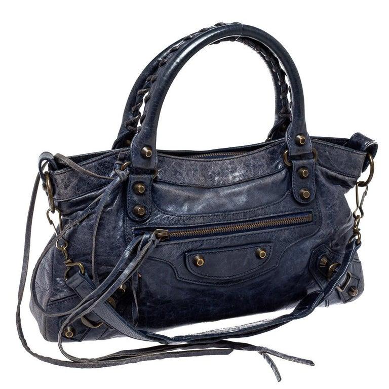 Balenciaga Marine Leather Small RH City Tote In Fair Condition For Sale In Dubai, Al Qouz 2