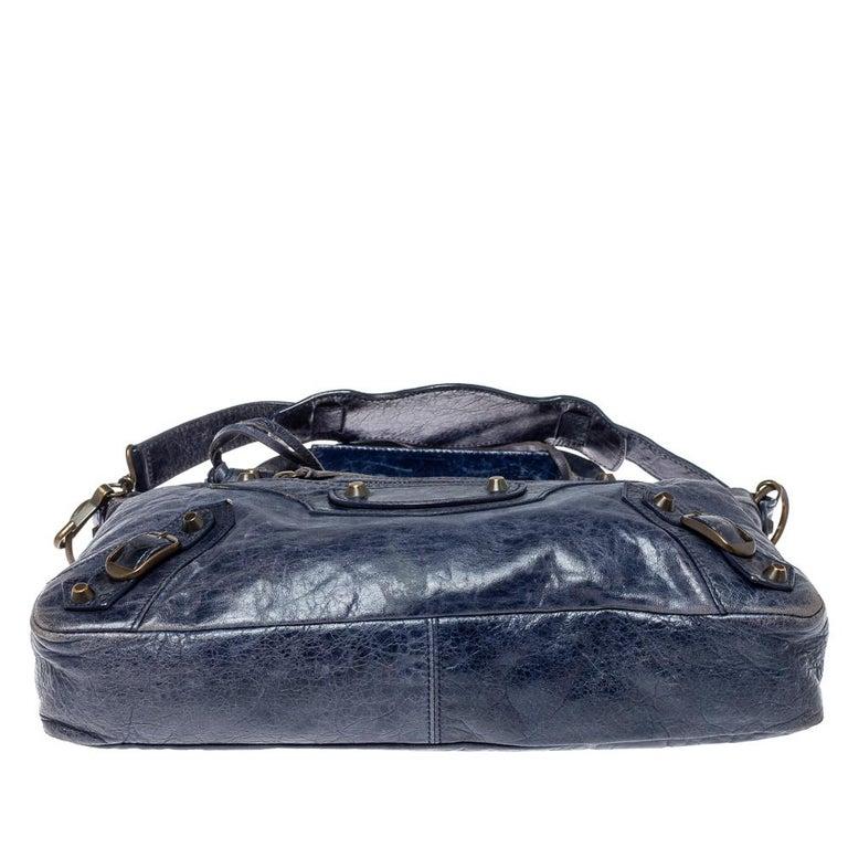 Women's Balenciaga Marine Leather Small RH City Tote For Sale