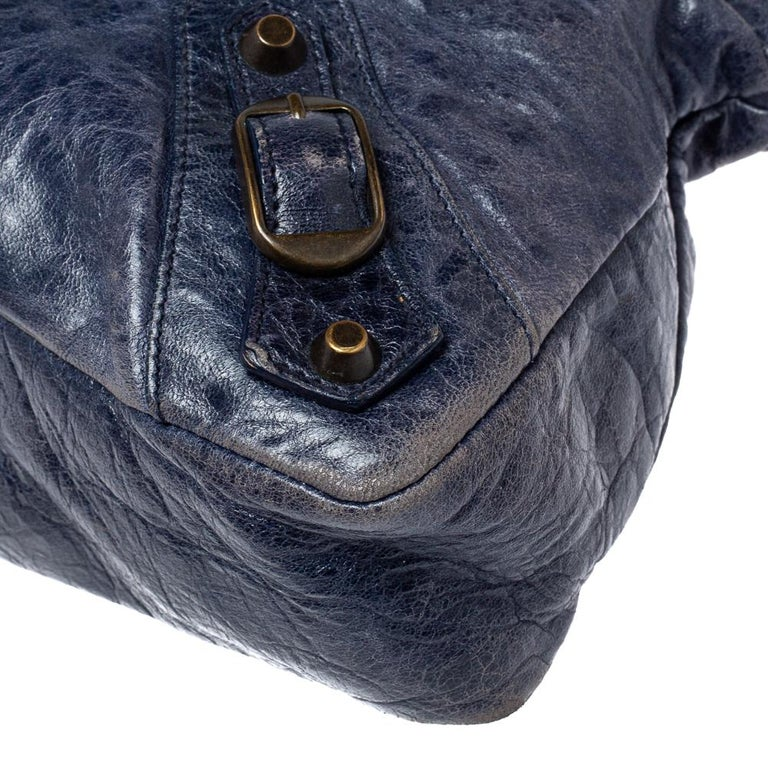 Balenciaga Marine Leather Small RH City Tote For Sale 2