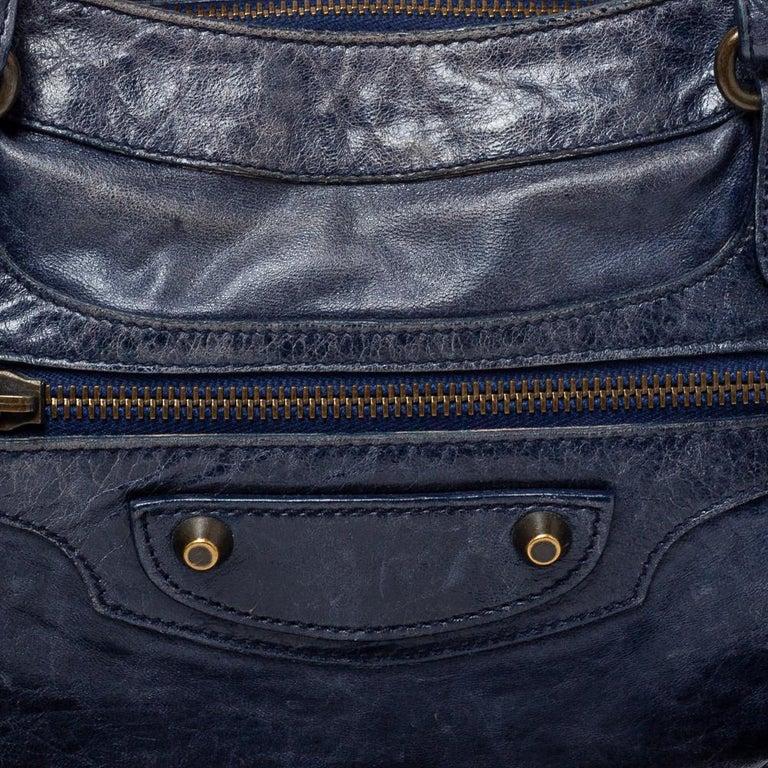 Balenciaga Marine Leather Small RH City Tote For Sale 4