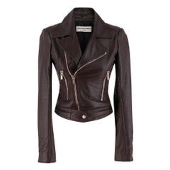 Balenciaga Maroon Leather Biker jacket SIZE 34