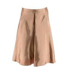 Balenciaga Metallic Beige Silk-Blend Satin A-Line Skirt