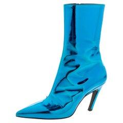 Balenciaga Metallic Blue Leather Slash Heel Ankle Boots Size 35