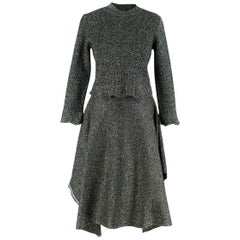 Balenciaga Metallic Knit Cropped Sweater and Skirt Set Size: S