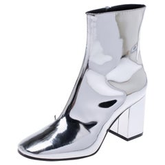 Balenciaga Metallic Silver Leather Ankle Boots Size 36
