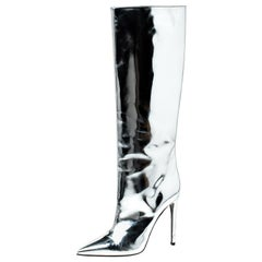 Balenciaga Metallic Silver Leather Knee Length Boots Size 38.5