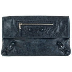BALENCIAGA midnight blue distressed leather GIANT Envelope Clutch Bag