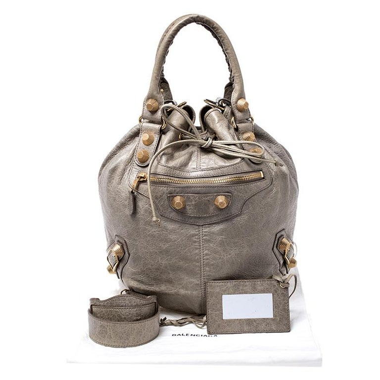 Balenciaga Militaire Leather GGH 21 Pompon Hobo For Sale 7