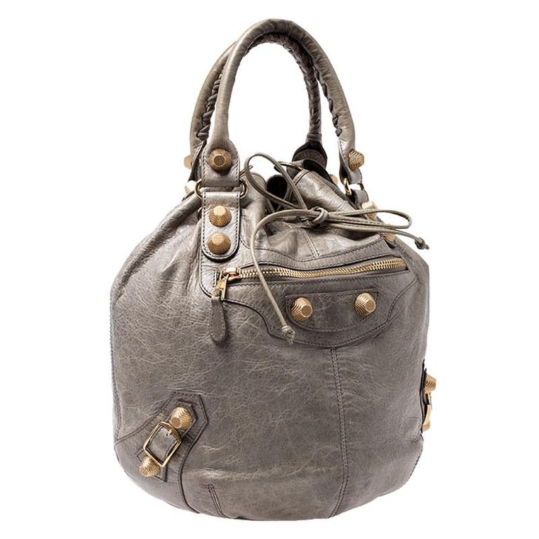 Balenciaga Militaire Leather GGH 21 Pompon Hobo In Good Condition For Sale In Dubai, Al Qouz 2