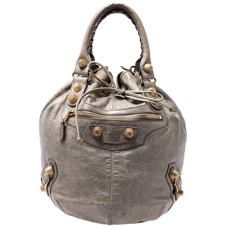 Balenciaga Militaire Leather GGH 21 Pompon Hobo For Sale