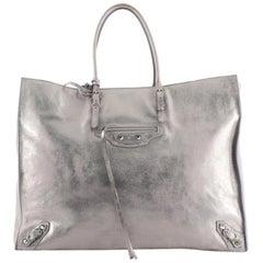 Balenciaga Milky Way Papier A4 Classic Studs Bag Metallic Leather Medium