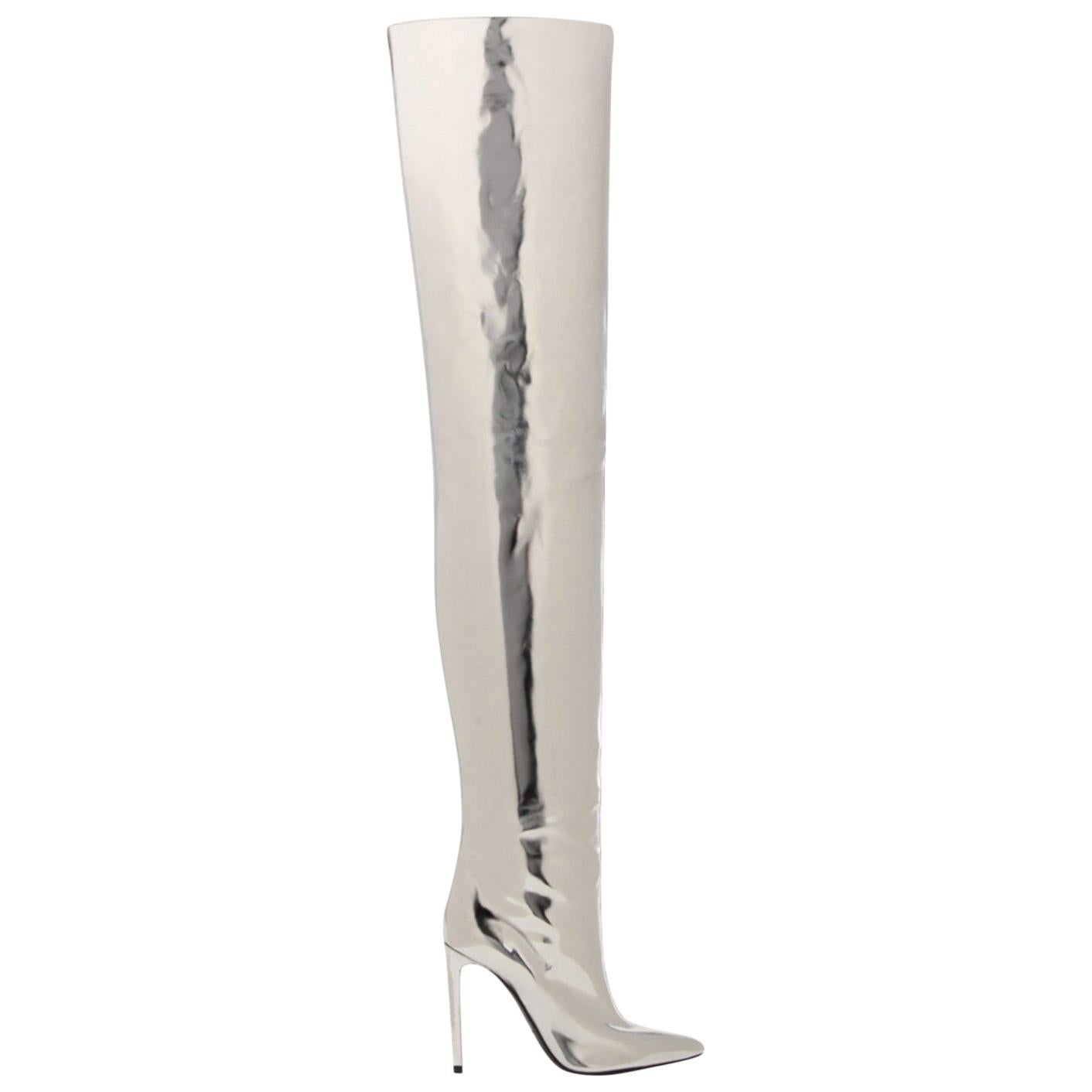 Silver Mirrored leather thigh boots