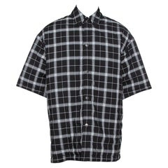 Balenciaga Monochrome Plaid Quilted Detail Oversized Short Sleeve Shirt S